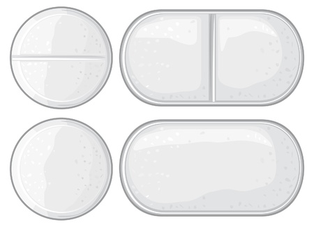 vector pills illustration (capsule, white tablet, white medical pills)