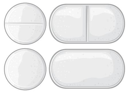 remedies: vector pills illustration (capsule, white tablet, white medical pills)