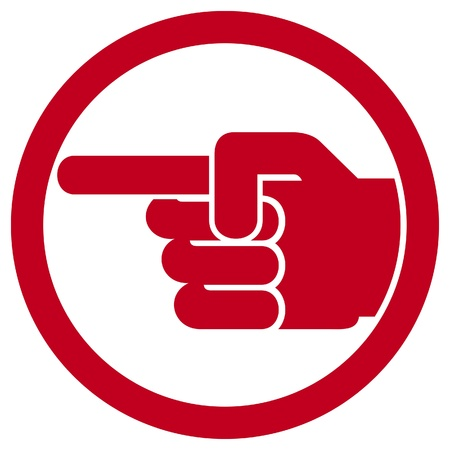 indicate: finger pointing symbol (hand with pointing finger, pointing finger sign, finger point icon, finger pointing, pointing hand, point finger button)