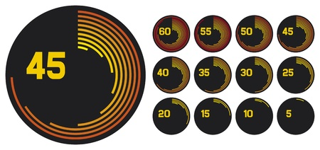 timers (timer collection, timer set, timer icons, digital timer, timer clock, clock icons, clock set) Vector