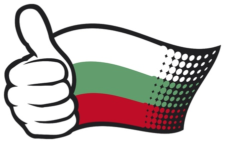 flag of bulgaria  hand showing thumbs up  Illustration