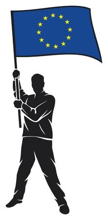eu: man holding european union flag  eu  Illustration
