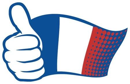 bandera francia: Bandera de Francia Bandera de Francia a mano que muestran los pulgares para arriba