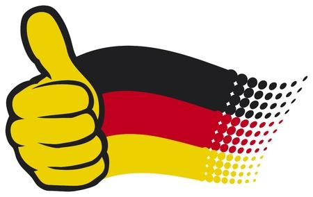 deutschland fahne: Deutschland-Flagge Hand zeigt Daumen nach oben