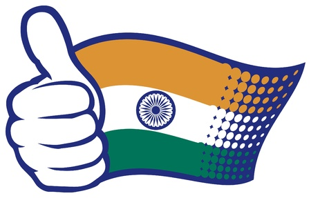 Flag of India  Hand showing thumbs up  Stock Vector - 17422974