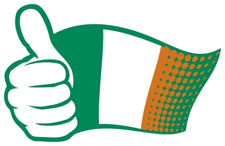Ireland flag  Flag of Ireland   Hand showing thumbs up  Vector