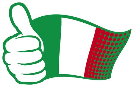 hand showing thumbs up: flag of italy  hand showing thumbs up  Illustration