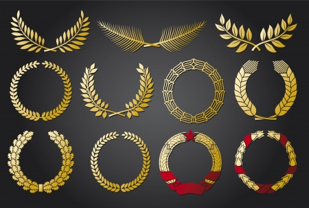 Wreath set  wreath collection, laurel wreath, oak wreath, wreath of wheat, palm wreath and olive wreath  Vector