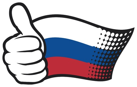 hand showing thumbs up: Russia flag  Hand showing thumbs up