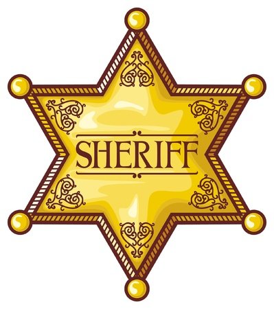 old cowboy: Vector sheriff s star  sheriff badge, sheriff shield