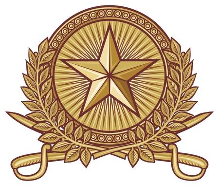 crossed swords: estrellas, espadas cruzadas, corona de laurel y espadas sables composici�n her�ldica