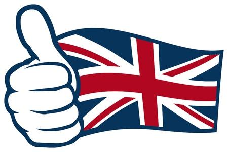 bandera de reino unido: Reino Unido Bandera del Reino Unido de Gran Breta�a e Irlanda del Norte, Reino Unido mano bandera que muestra los pulgares para arriba Vectores