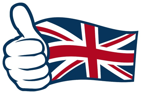 United Kingdom flag  Flag of United Kingdom of Great Britain and Northern Ireland, UK flag   Hand showing thumbs up