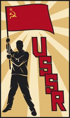 soviet: man holding USSR flag  soviet union flag