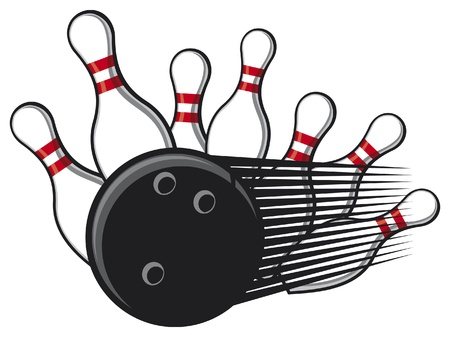 bowling ball crashing into the pins Stock Vector - 17470044