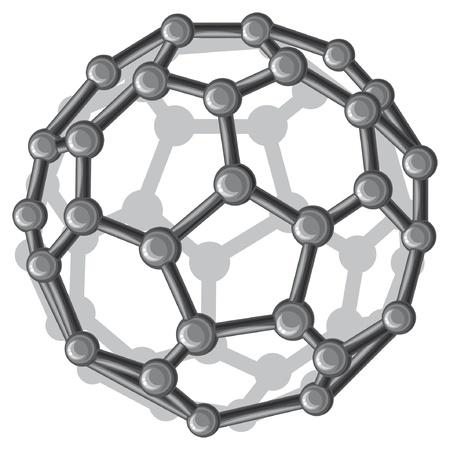 estructura molecular del fullereno buckyball C60 C60 palos nanoestructura modelo molecular Ilustración de vector