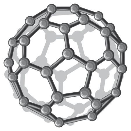 superconductor: molecular structure of the  C60 buckyball  nanostructure fullerene C60 sticks molecular model