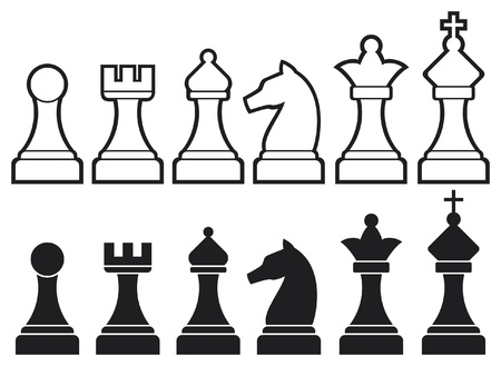 �checs: pi�ces d'�checs, y compris le roi, la reine, une tour, un pion, chevalier, et les ic�nes d'�checs �v�que, vector set de pi�ces d'�checs, des figures d'�checs Illustration