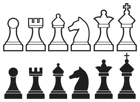 Schachfiguren darunter König, Dame, Turm, Bauer, Ritter und chess Icons, Vektor-Set von Schachfiguren, Schach Zahlen