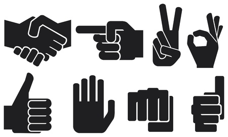 pointing up: human hand sign collection