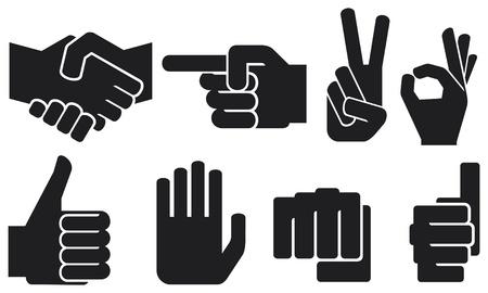 dedo apuntando: mano humana colección signo Vectores