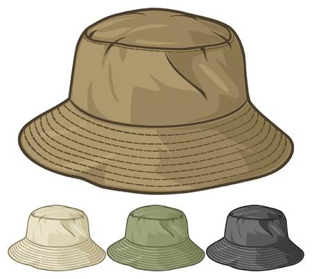 рыбаки: ведро шляпу коллекции ведро шляпу набор Иллюстрация