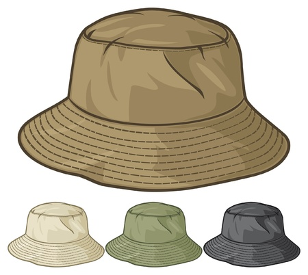 bucket hat collectie bucket hat set Stock Illustratie