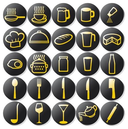 kitchen icons set  set of buttons on a theme kitchen, food icon, kitchen symbols