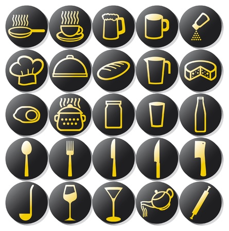 kitchen icons set  set of buttons on a theme kitchen, food icon, kitchen symbols  Stock Vector - 17472589