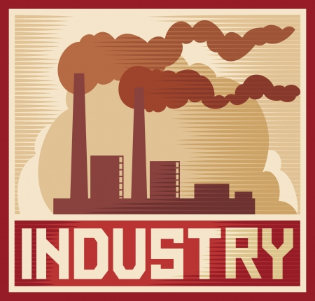edificio industrial: cartel industria - Dise�o industrial industria de plantas, edificios f�brica industrial, silueta f�brica industrial