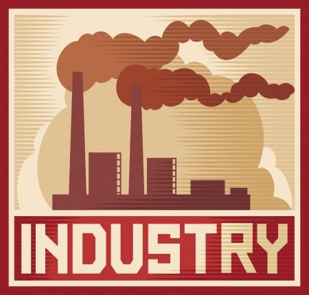 Poster industria - industrial design industriale impianti, edifici industriali in fabbrica, silhouette stabilimento industriale Vettoriali