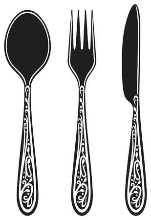 knife and fork: knife, fork and spoon with ornaments