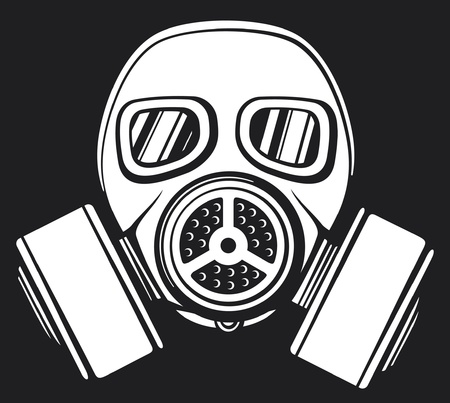 danger chimique: masque � gaz masque � gaz arm�e, masque de protection dans la face du filtre, le masque de gaz protecteur Illustration