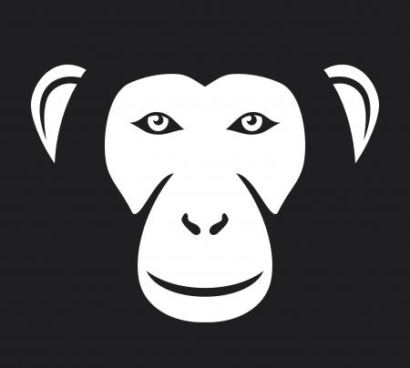 chimp: monkey head  ape head, monkey face  Illustration