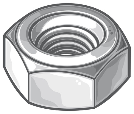 nuts and bolts: grey nut  metal nut, screw nut, mechanical nut