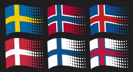 scandinavian flags - flag of sweden, flag of finland, flag of denmark, flag of iceland, flag of norway, flag of faroe islands Stock Vector - 17472592