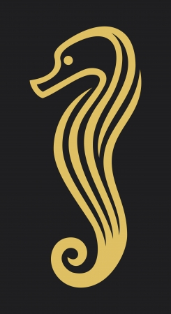 fisheries: vector sea horse  stylized icon of a seahorse