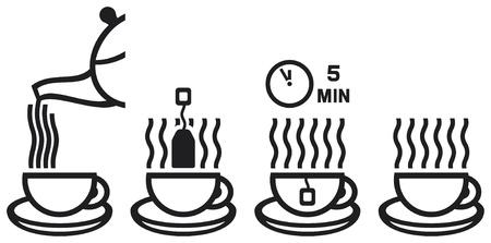 tea preparation ceremony  making tea icon, vector set of tea cup icons Stock Vector - 17470015