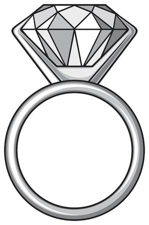 Bague diamant avec diamant Vecteurs