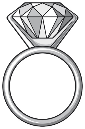 silver ring: diamond ring  ring with diamond  Illustration