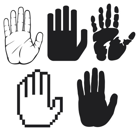 signal stop: black hands  black print of a hand, hand print, hand print shape, stop hand silhouette   Illustration