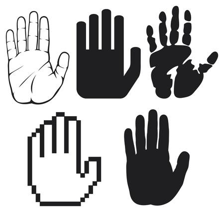 schwarze Hände schwarz Druck einer Hand, Handabdruck, Handabdruck Form, zu stoppen Hand silhouette