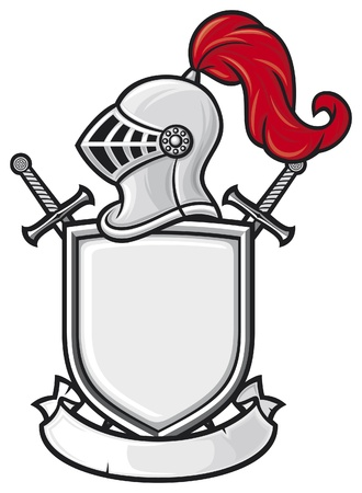 badge shield: medieval knight helmet, shield, crossed swords and banner - coat of arms  knight head in helmet, heraldic composition