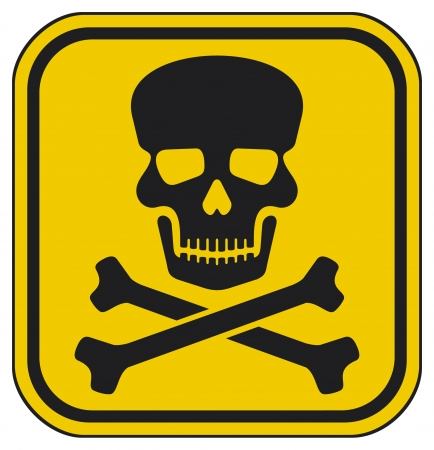 symbole chimique: signe de danger cr�ne signe de danger mortel, signe avertissement, signe roger gai, zone de danger Illustration