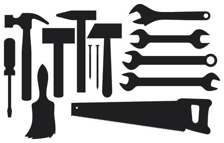 black silhouettes of hand tools   Stock Vector - 17758882