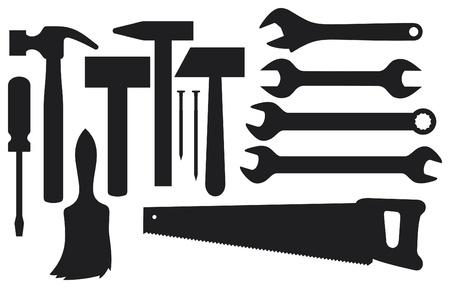 herramientas de construccion: siluetas negras de las herramientas de mano