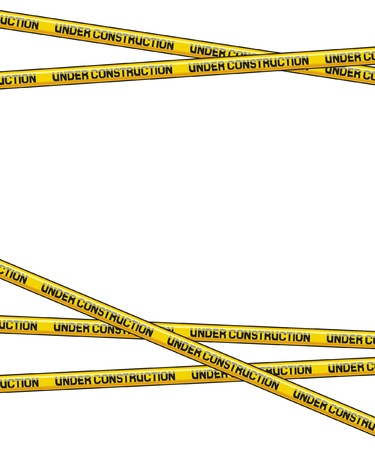dangerous construction: under construction caution tape on metallic  danger tapes