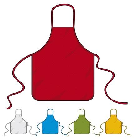 jasschort: keukenschort koks schort collectie Stock Illustratie