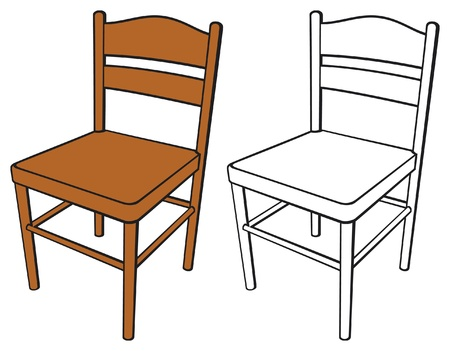 wood room: classic chair Illustration