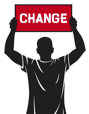 evolve: young man  demonstrator  holding a banner - change Illustration
